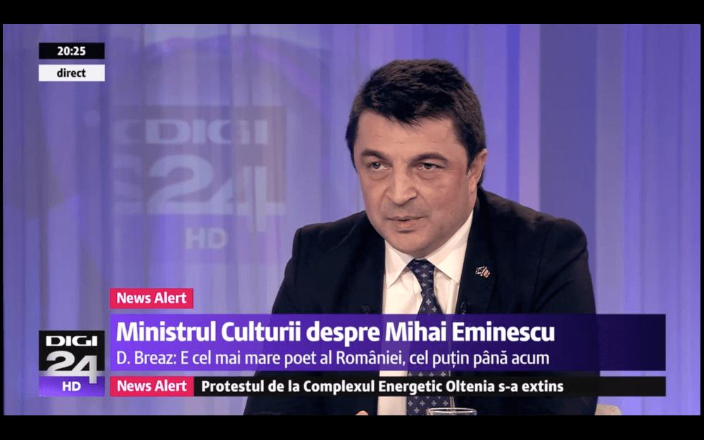 """Ministrul Culturii, despre Mihai Eminescu: """"Cel mai mare poet CARE l-a dat România"""""""