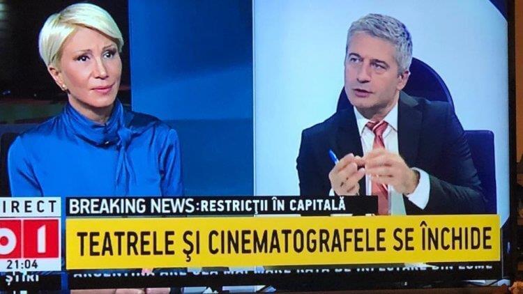 """B1 TV: """"Teatrele și cinematografele se închide"""""""